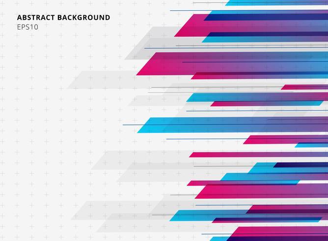 Tecnologia astratta geometrica blu e rosa sfumatura brillante colore movimento orizzontale sfondo. Modello per brochure, stampa, annunci, riviste, poster, sito Web, riviste, opuscoli, relazione annuale. vettore
