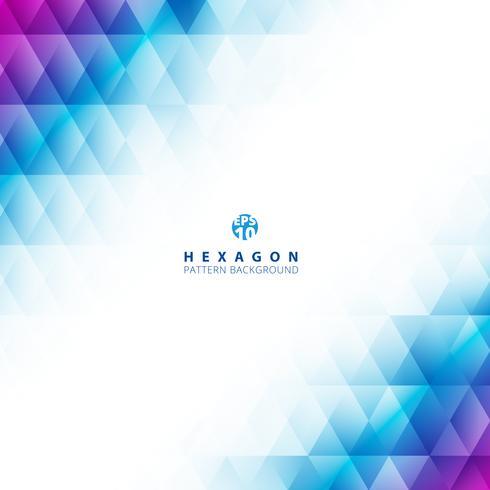Modello geometrico di esagono di colore blu e viola astratto di pendenza su fondo e struttura bianchi con lo spazio della copia. Modelli di design creativo. vettore