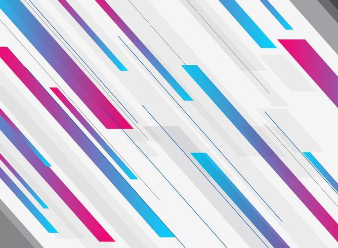 Tecnologia astratta geometrica blu e rosa sfumato brillante colore brillante movimento in diagonale sfondo. Modello per brochure, stampa, annunci, riviste, poster, sito Web, riviste, opuscoli, relazione annuale. vettore