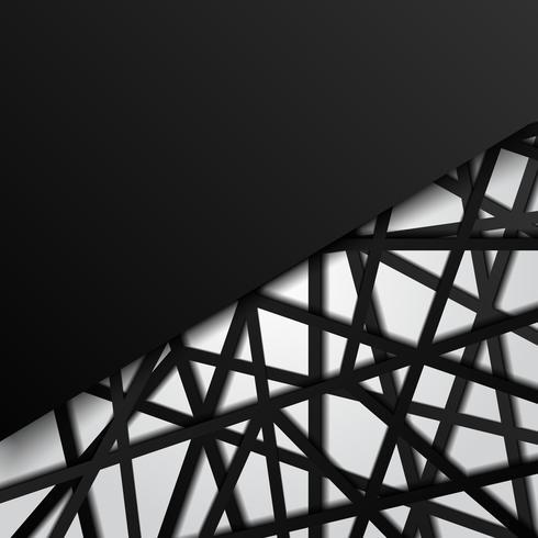 Il nero astratto del modello allinea la priorità bassa bianca di sovrapposizione futuristica. Connessione digitale vettore