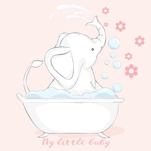 stile disegnato a mano del fumetto dell'elefante del bambino sveglio Illustrazione di vettore