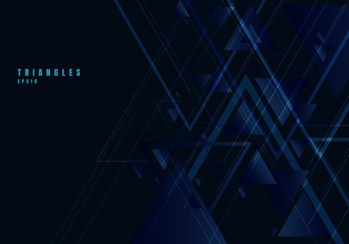 I triangoli blu astratti modellano e linee su fondo nero per stile di tecnologia di affari. Elemento di design geometrico per l'eleganza con lo spazio della copia. vettore