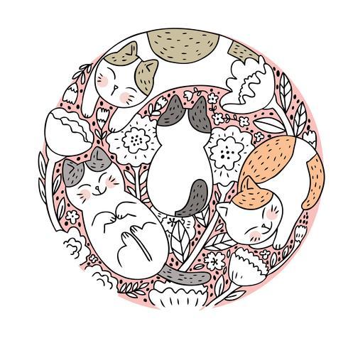 Cartone animato carino gatto e flora vettoriale. Doodle circle frame. vettore
