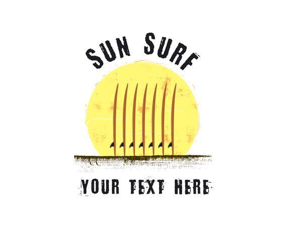 tramonto e concetto di logo di surf vettore