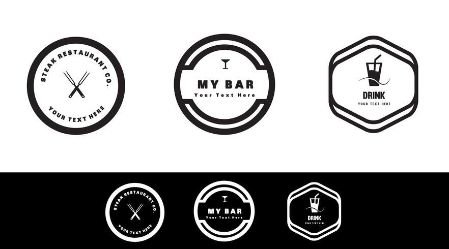 concetto di logo di cibo e bevande. Distintivo moderno vettore