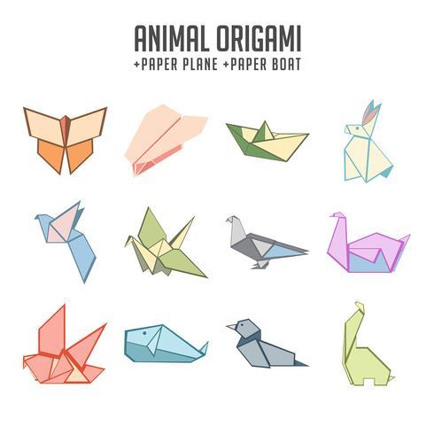Origami animali colorati e barca di carta e aereo insieme vettore