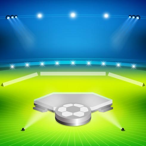 stadio di calcio con stand dei vincitori vettore