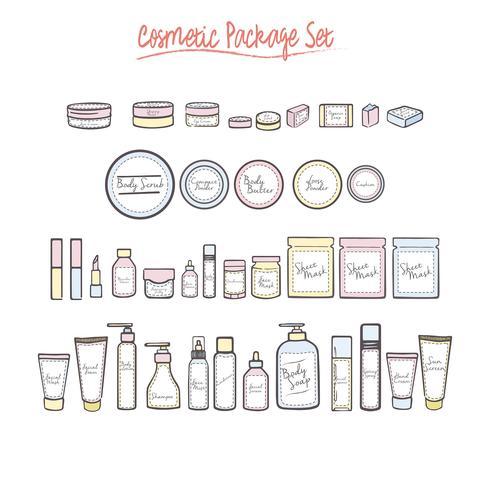 Varie bottiglie cosmetiche di prodotti di bellezza vettore