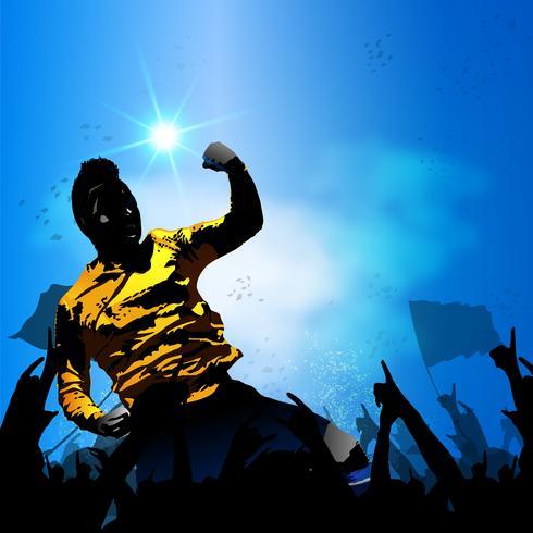 calciatore che festeggia con la folla vettore