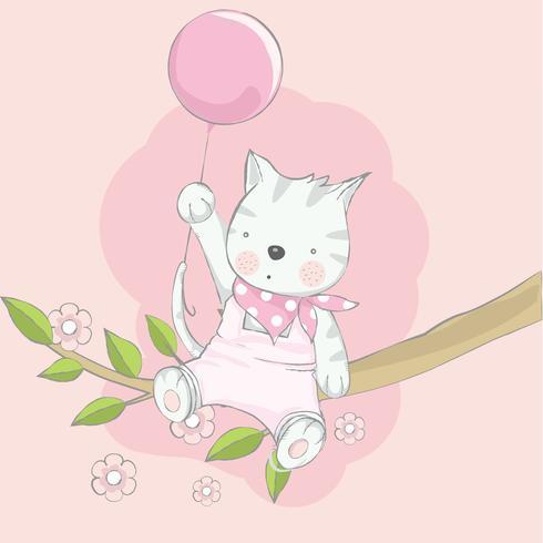 gatto sveglio del bambino con stile disegnato a mano del fumetto dell'aerostato Illustrazione di vettore