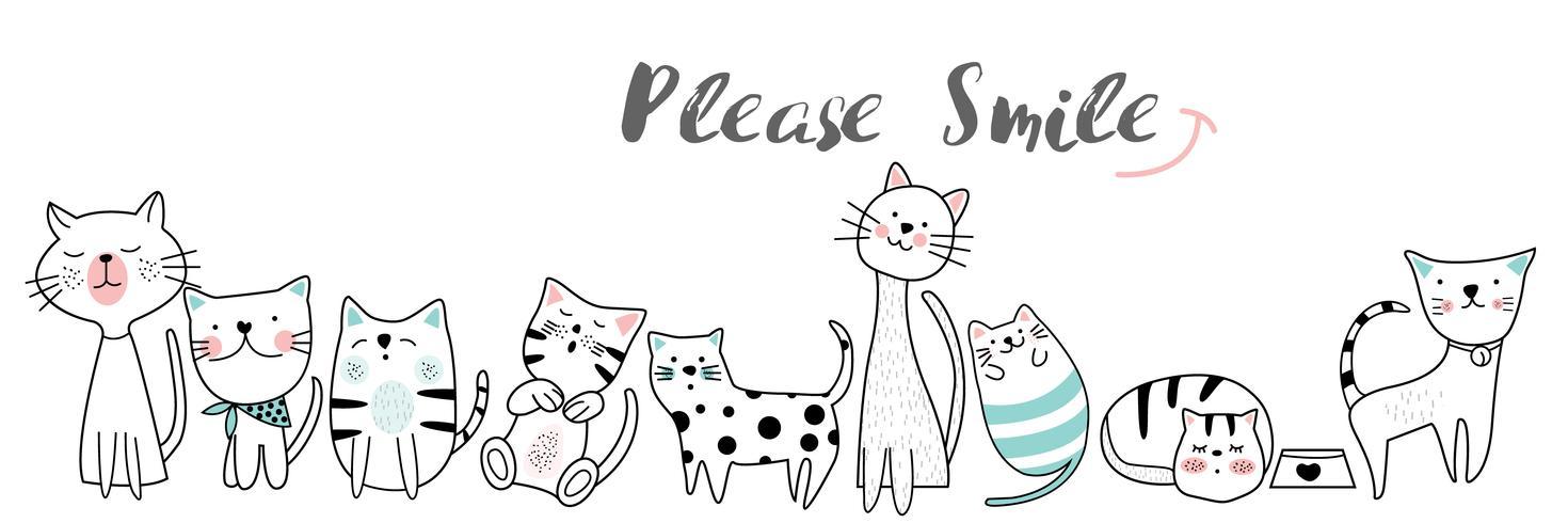 illustrazione disegnata a mano di stile del fumetto sveglio del gatto del bambino Illustrazione di vettore