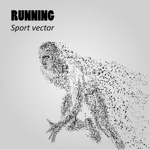 Silhouette di un uomo che corre dalle particelle. Silhouette corridore. Illustrazione vettoriale Immagine degli atleti composta da particelle.