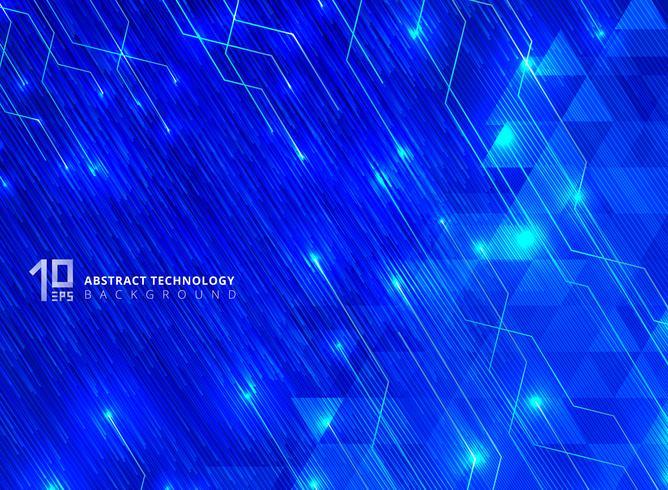 Le linee astratte di tecnologia con l'incandescenza di illuminazione futuristica sui triangoli modellano il fondo blu di pendenze. vettore