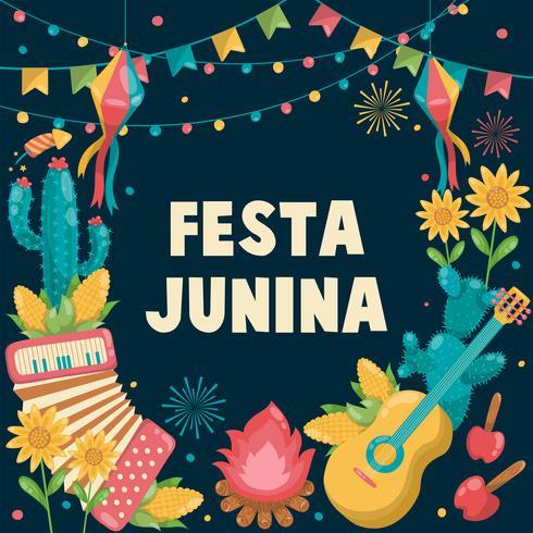 Festa Junina Brazil June Festival disegnata a mano. Festival del villaggio in America Latina. Fuoco di accampamento del girasole di estate del cactus della fisarmonica della chitarra della ragazza del ragazzo. Sfondo - illustrazione vettoriale