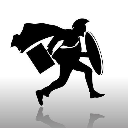 Silhouette Spartan man Running vettore