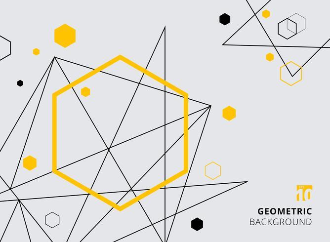 Esagono geometrico astratto giallo e nero con linee su sfondo grigio. vettore