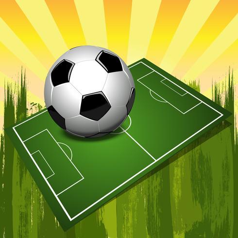 Pallone da calcio su un campo vettore