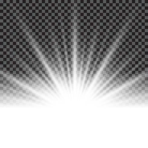 Effetto di luce sunburst o raggi di sole su sfondo trasparente. vettore