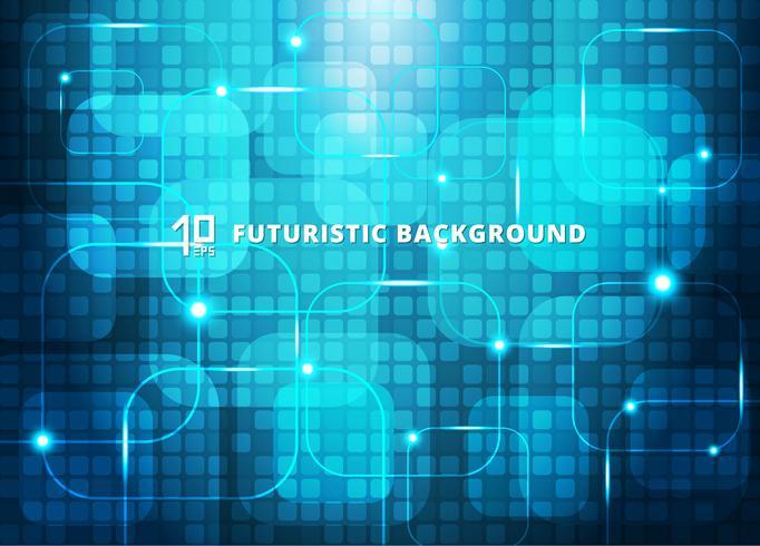 Fondo digitale futuristico di concetto virtuale astratto di tecnologia dei quadrati blu con spazio per il vostro testo. vettore