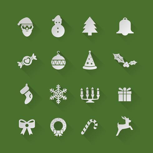Icone piane di Natale vettore