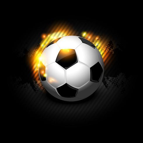 Pallone da calcio fuoco in nero vettore