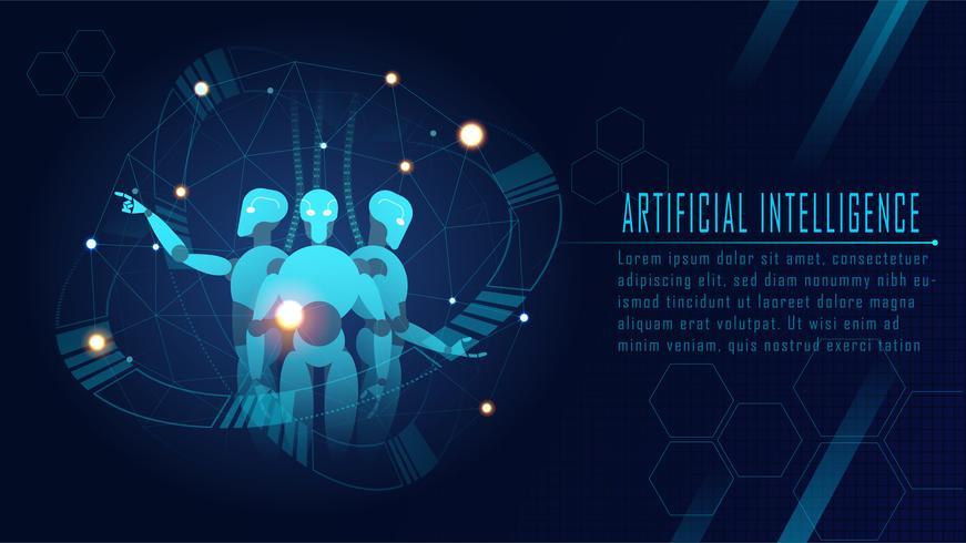 Concetto di robot futuristico di intelligenza artificiale vettore