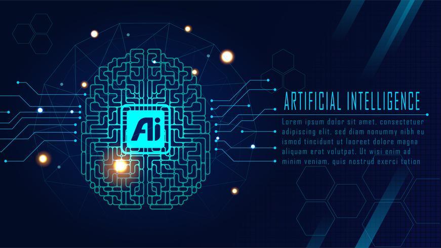 Concetto di cervello AI futuristico vettore