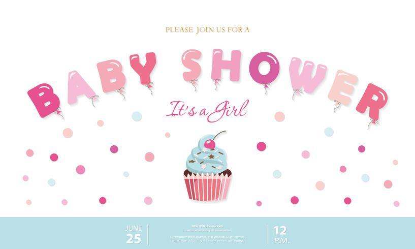 Ragazza carina baby doccia modello. Invito a una festa con lettere a palloncino, cupcake e coriandoli. Colori pastello rosa e blu. vettore