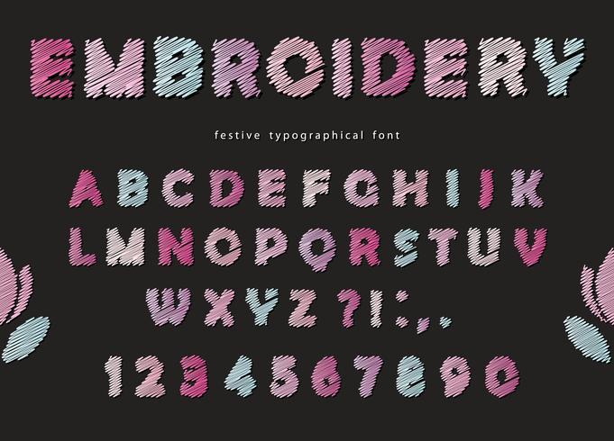 Disegno del carattere del ricamo. Carino lettere ABC e numeri in colori pastello su sfondo nero. vettore