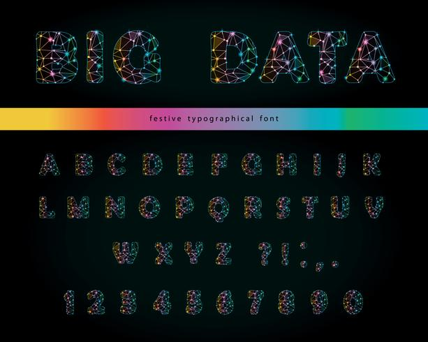Carattere moderno di grandi dati su sfondo nero. Lettere e numeri poligonali con punti sparkle e linee di connessione. Struttura del cielo stellato. Vettore