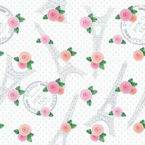 Modello senza cuciture romantico con la Torre Eiffel, francobolli e rose. Per stampa e web. vettore