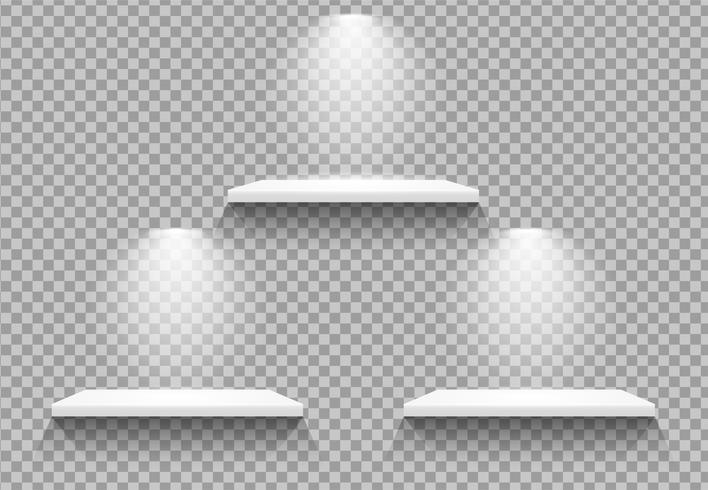Scaffali vuoti C'è una luce che si illumina per mostrare al prodotto di risaltare. vettore