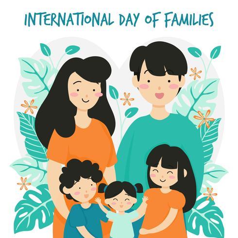 Il giorno di famiglia internazionale disegnato a mano / il giorno internazionale delle famiglie con la corona di fiore fioriscono il fondo - illustrazione di vettore del bambino del figlio di Mother Mother Daughter