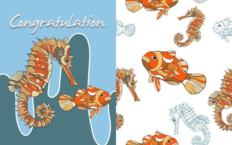 Ippocampo disegnato a mano pesce senza cuciture vettore
