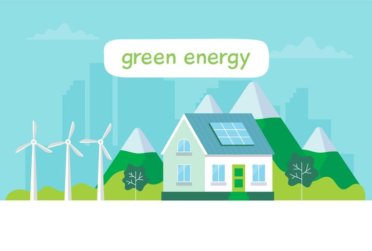 Illustrazione di energia verde con una casa, pannelli solari, turbine eoliche, lettering Concetto illustrazione per ecologia, energia verde, energia eolica, sostenibilità vettore