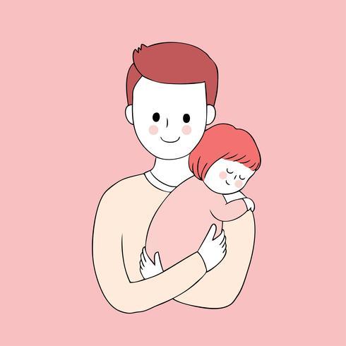 Cartone animato carino padre e figlia vettoriale. vettore