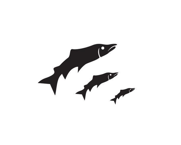 modello di sagoma di pesce vettoriale salmone nero