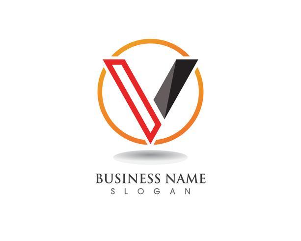 V logo aziendale lettera icone vettore