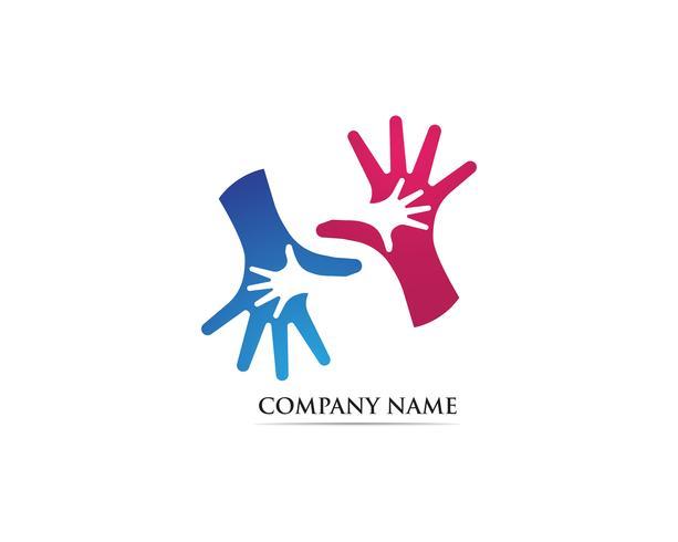 Vettore di logo di adozione di cura della mano