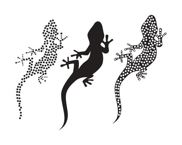 Il nero del nero di vettore della siluetta del geco del camaleonte della lucertola