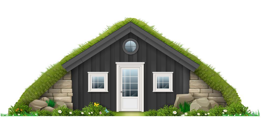 Tradizionale casa di erba erbosa islandese vettore
