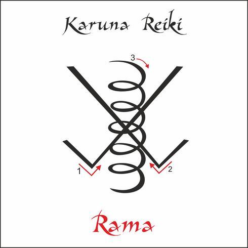 Karuna Reiki. Guarigione energetica. Medicina alternativa. Simbolo Rama. Pratica spirituale Esoterico. Vettore