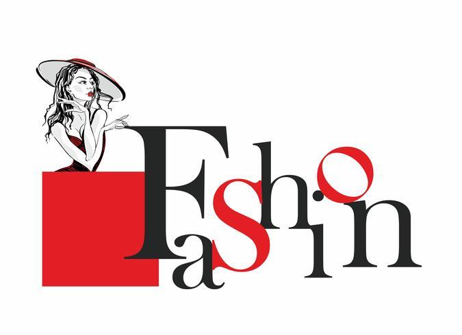 Moda. Lettering elegante. Ragazza modello nel cappello. Elegante etichetta per l'industria della moda. Bellezza. Vettore. vettore