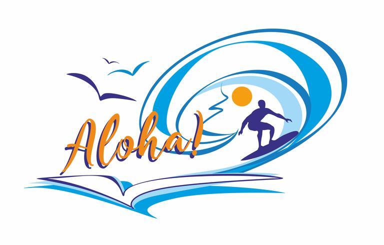 Aloha. Surfer. Lettering. Logo. È tempo di riposare e viaggiare. Paesaggio marino. Onda. Illustrazione vettoriale