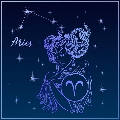 Segno zodiacale Ariete come una bella ragazza. The Constellation Of Aries. Cielo notturno. Oroscopo. Astrologia. Vettore. vettore