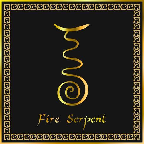 Karuna Reiki. Guarigione energetica. Medicina alternativa. Fire Serpent Symbol. Pratica spirituale Esoterico. D'oro. Vettore