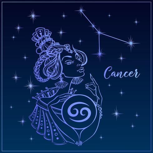 Segno zodiacale Cancro come una bella ragazza. La costellazione del cancro. Cielo notturno. Oroscopo. Astrologia. Vettore. vettore