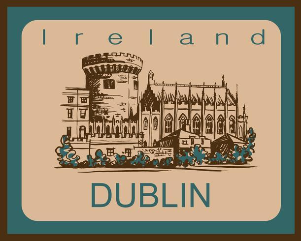 Castello di Dublino. Schizzo. Dublino. Irlanda. Per il settore dei viaggi e del turismo. Design pubblicitario. Illustrazione vettoriale