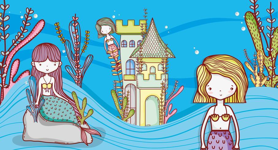 Sirenette simpatiche cartoni animati vettore
