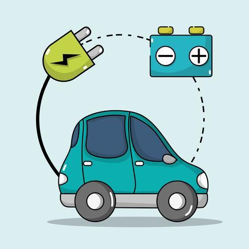auto elettrica con cavo di alimentazione per caricare la batteria vettore